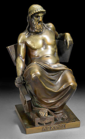 A Continental patinated bronze figure of Aeschylus