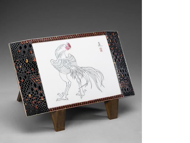 A rare cloisonne enameled rectangular plaque (hengaku) after a work by Wada Sanzo By Ando Jubei, Dat