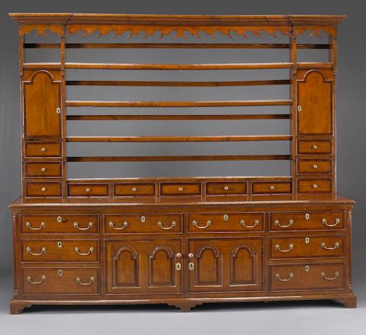 A George III mahogany crossbanded oak high dresser