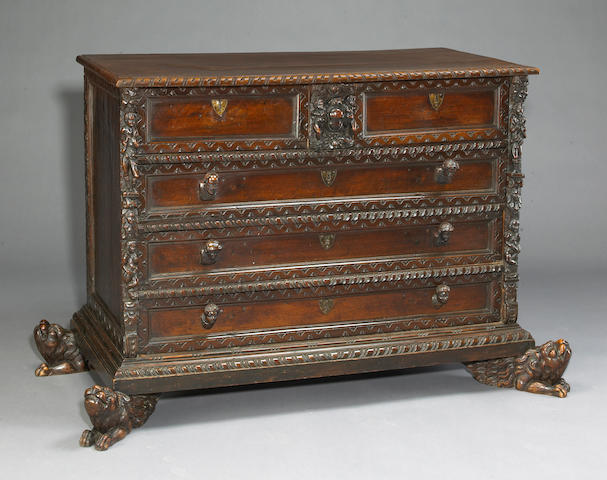 A fine Italian Renaissance carved walnut chest of drawers