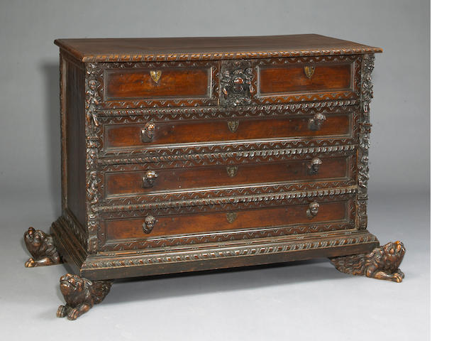 Fine Italian renaissance carved walnut chest of drawers