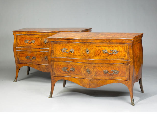 A pair of Italian Rococo kingwood and walnut parquetry cassetoni
