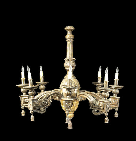 An Italian Neoclassical giltwood and paint decorated eight light chandelier