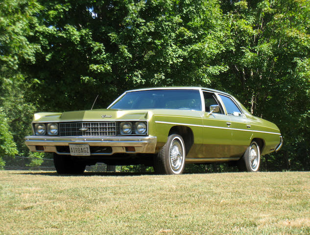 The first production car to feature 'Air bag' technology, possibly the last example remaining,1973 Chevrolet Impala V8 4-door Sedan  Chassis no. IL69K3D800823