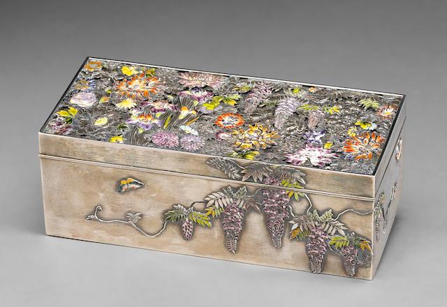 An enamel decorated silver box Meiji Period
