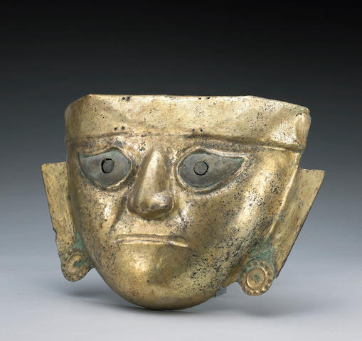 A Moche gilt copper mask