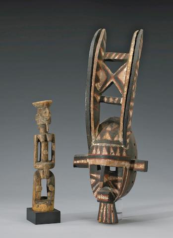 A Dogon figure and a Bobo mask, Mali