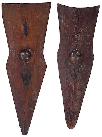 Two Indonesian shields heights 49in, 45in