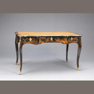 A Louis XV style lacquered and japanned bureau plat