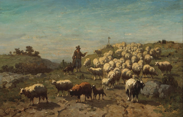 Louis Robbe (Belgian, 1806-1887) A shepherd with his flock 13 1/2 x 21 1/2in (34.3 x 54.6cm)
