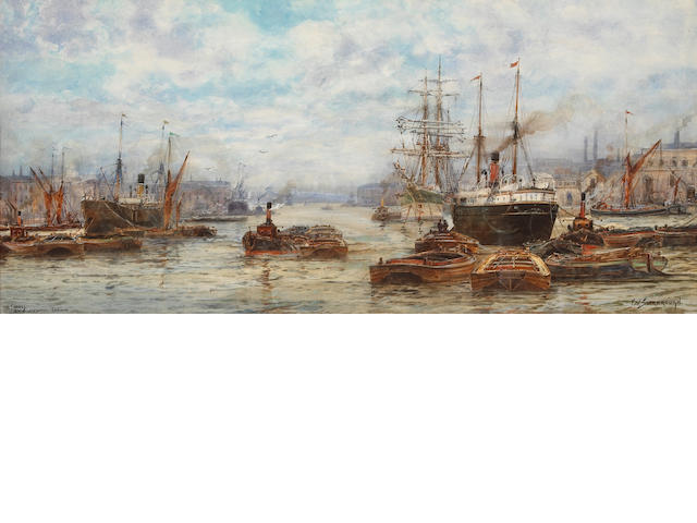 Frederick William Scarborough (British, born circa 1860-1939) The Thames at Blackwall, London sight 13 x 29in (33 x 73.7cm)