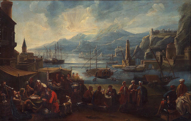 Attributed to Pietro Maurizio Bolckman (1640-1710) A capriccio harbor view with numerous figures; and a companion painting of a market scene (a pair) 33 x 51in (83.8 x 129.5cm)