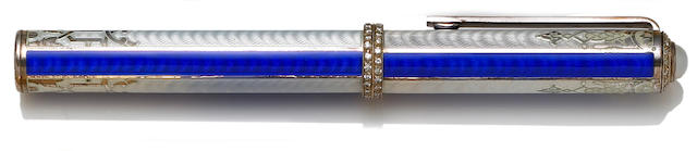 Michel Perchin Enamel and Sterling Silver Hampton Diamonds Fountain Pen