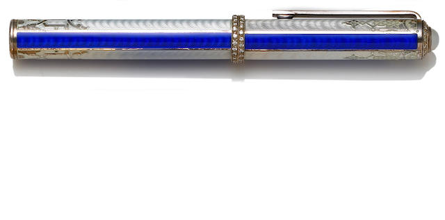 MICHEL PERCHIN: Enamel and Sterling Silver Hampton Diamonds Fountain Pen