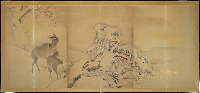 School of Mori Kansai (1814-1894) Deer in Snow