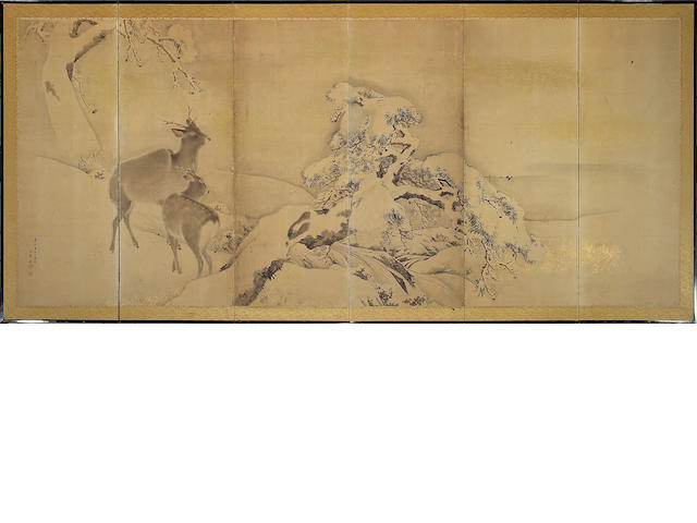 School of Mori Kansai: Deer in Snow, six-panel screen