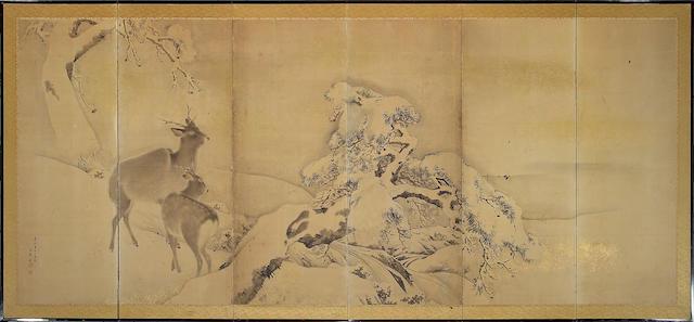 School of Mori Kansai: Deer in Snow, six-panel screen