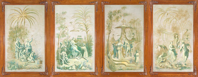 A set of four chinoiserie paint decorated canvas panels