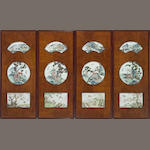 A set of four wall panels insert with famille rose porcelain plaques, Republic Period