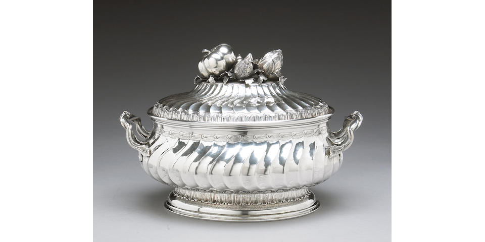 Continental Hand Wrought Sterling Soup Tureen with Cover After the Antique