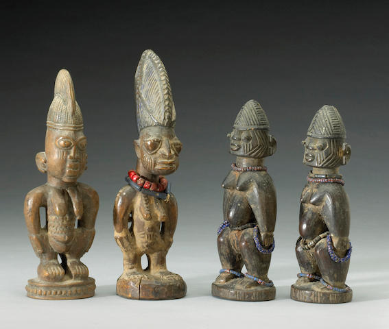 Four Yoruba Ibeji figures