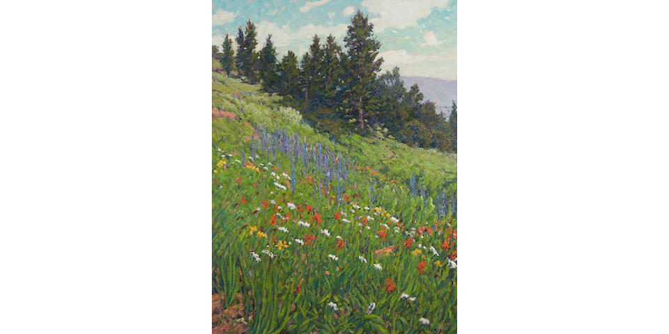 Gary Ray (American, born 1952) Wildflowers along a Hillside 40 x 30in