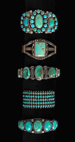 Five Navajo or Zuni bracelets