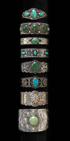 Eight Navajo bracelets
