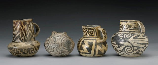Four prehistoric Southwest black-on-white pottery vessels