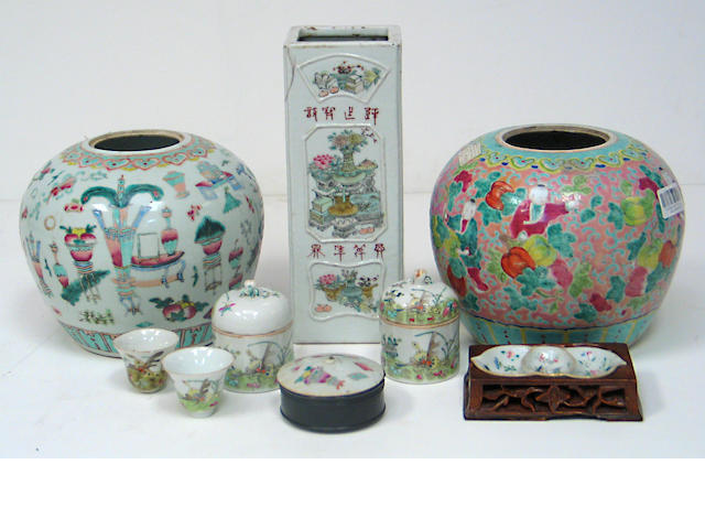 Six Chinese porcelains: 2 ginger jars, 1 square vase, 2 small covered jars and 1 condiment dish