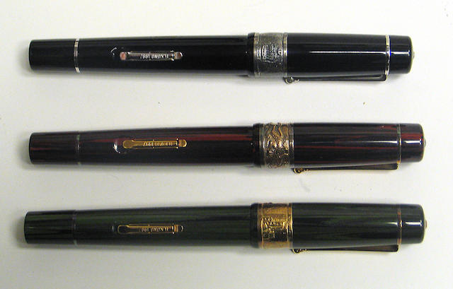 DELTA: Ebonite and Sterling Silver The Return to China Hong Kong 1997 Fountain Pen Set