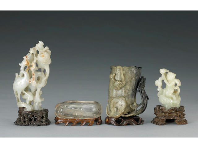 Four Chinese hardstone and jade carviings