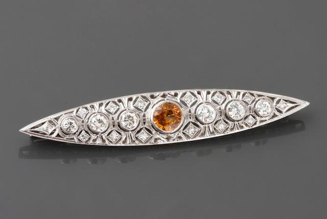 A sapphire, diamond and platinum bar brooch,