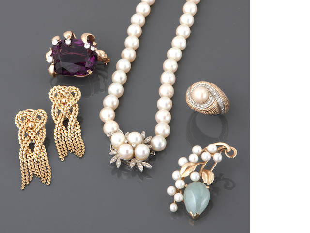 A collection of cultured pearls, jade, amethyst, diamond, 18k and 14k gold jewelry