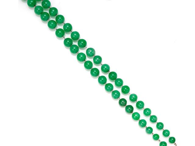 A jadeite jade, diamond and enamel bracelet