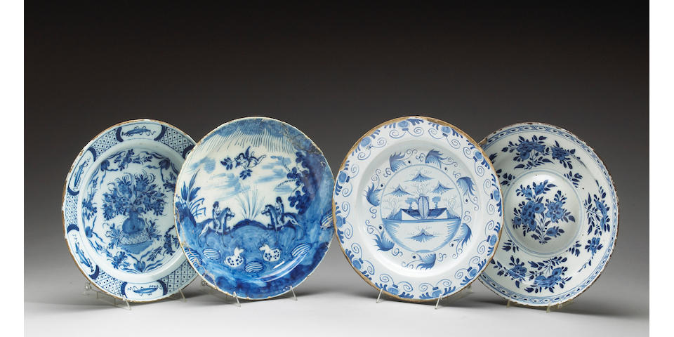 Four Dutch blue and white dishes