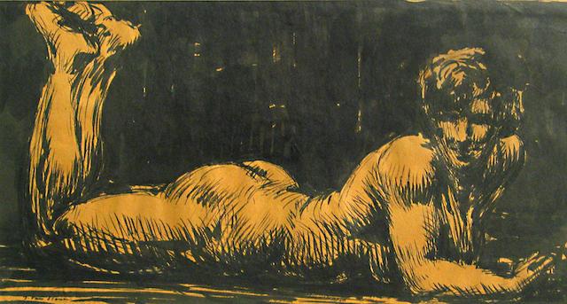 Frank Van Sloun (American, 1879-1938) Untitled (Nude) 6 3/4 x 12in
