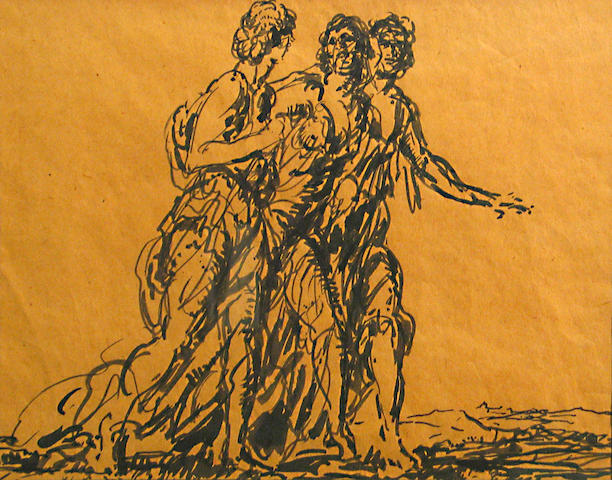 Frank Van Sloun (American, 1879-1938) Untitled (Three figures), 1926 8 1/2 x 10 3/4in