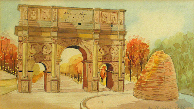 Ludwig Blum (Israeli, 1891-1975) The Arch of Constantine, 1944 9 1/2 x 13 1/4in