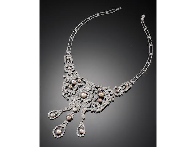 A fine belle époque diamond and natural pearl necklace, Dreicer & Co,