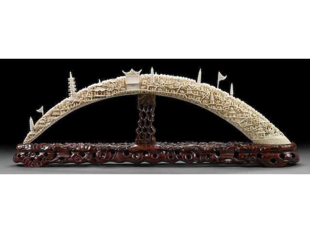 A massive pieced and reticulated ivory tusk 20th Century