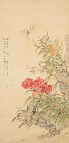 Tsubaki Chinzan (1801-1854) Cockscomb and Insects