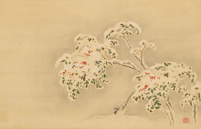 Tanaka Totsugen (1767-1823) Wagtail and Nandina in Snow