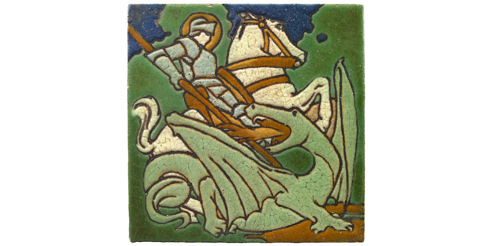 A fine Grueby tile decorated in cuenca and cuerda seca depicting St George and The Dragon