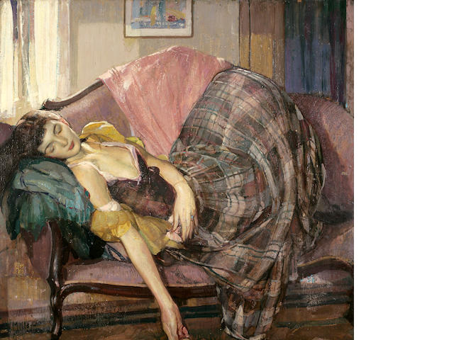 Richard Edward Miller (American, 1875-1943) The Plaid Skirt 34 x 36 in.