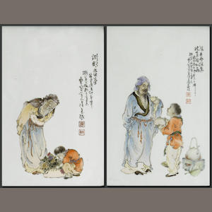 Two Chinese framed porcelain figural panels
