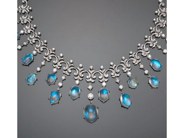 A moonstone and diamond necklace