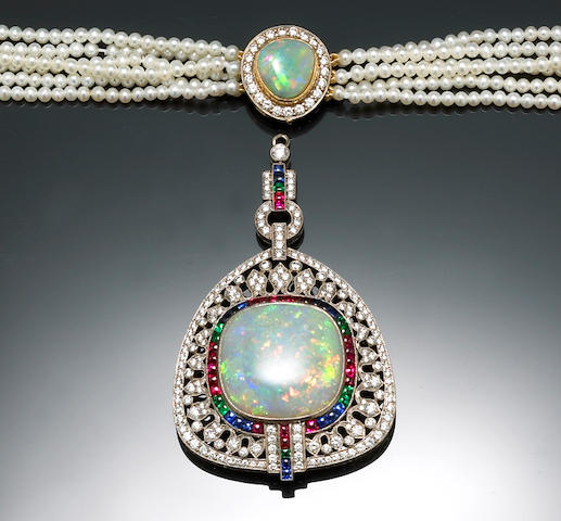 An opal, cultured pearl, synthetic emerald, synthetic ruby, synthetic sapphire and diamond pendant-n