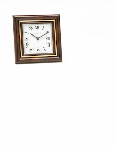 An enamel and brass desk clock, Cartier, Paris