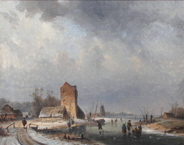 Louis Smets (Dutch) Skaters on a frozen canal 15 5/8 x 19 3/8in